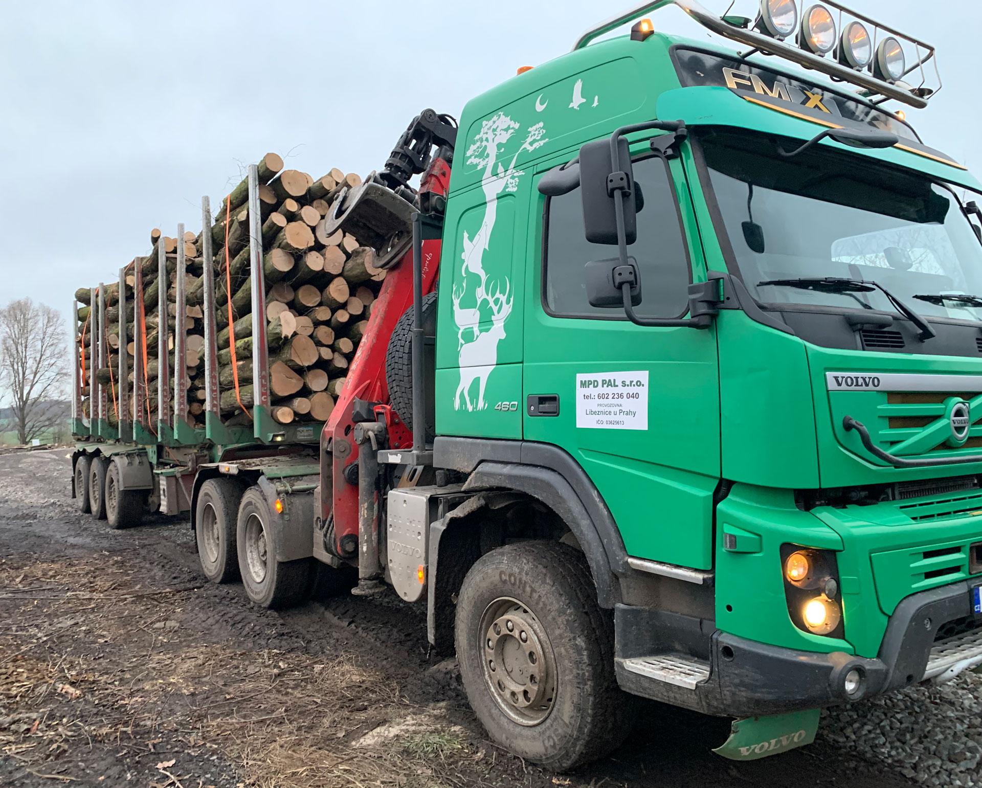 dřevem plně naložený kamion